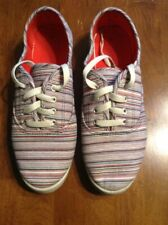 Women's Canvas Shoes Size 10 Red/White/Blue Stripe