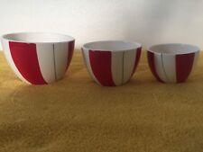 3 Piece Nesting Bowl Set Candy Stripe Red White Green Stripe