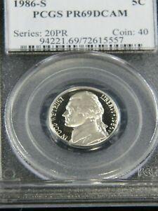 1986-S Jefferson Nickel PCGS PR69DCAM Deep Cameo Proof #G783