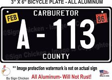 Cars / Pixar / Tow Mater's A-113, ALUMINUM,  Replica Prop License- Plate Bicycle
