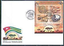 TOGO 2013 WILD ANIMALS OF WEST AFRICA ROYAL PYTHON SNAKE SHEET FDC