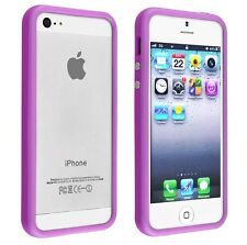 iPhone 5 Bumper Case TPU Frame with metal buttons - Purple