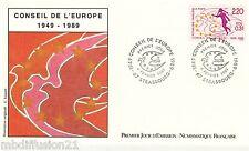 1989 - ENVELOPPE ILLUSTRE FDC 1°JOUR** CONSEIL DE L'EUROPE - TIMBRE Yv.100