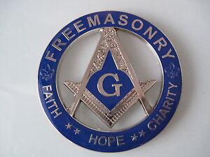 New Masonic Master Mason Cut out Car  Emblem Silver.