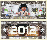 Happy New Year 2012 1 Million Dollars Color Novelty Money X 10 Pieces Lot