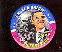 Barack OBAMA pin Martin Luther KING 2008 Campaign CIVIL RIGHTS pinback