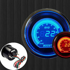 "HS 2"" 52mm PSI TURBO BOOST VACUUM CAR DIGITAL LED METER GAUGE TINT LENS BLUE RED"