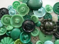 Lot 100 Mixed Assorted GREEN Vintage & New Buttons Perfect For Crafts Bulk