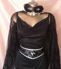 Black Bandit Costume Robe Cape masque ceinture fantaisie robe polyester taille S