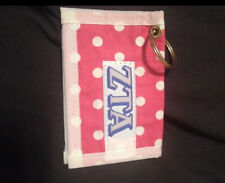 Zeta Tau Alpha ID holder, pink with white polka dots, pre-owned
