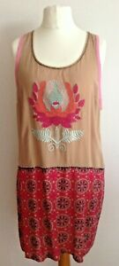 Warehouse Ladies Racer Back Bead & Embroidered Beige/Pink Sundress 16 BNWOT's