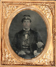 AMBROTYPE TRAIN CONDUCTOR, AMBER GLASS, TINTED, CRISP 1/6 PLATE, FULL CASE.