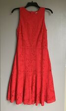 H&M Women's Sleeveless Evening Party Dress 8 Size Red All Laced Back Zipper