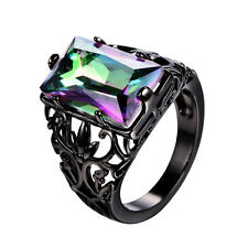 Hollow Rectangle Mystic Rainbow Topaz Wedding Ring 10KT Black Gold Filled Sz5-10