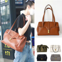 Small/ Large Real Leather Shoulder Bag Carry Bag Tote Purse Two Straps Vintage