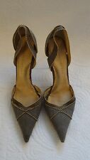 STELLA MCCARTNEY Grey with Gold Beads D'orsay Heels Size 37 1/2