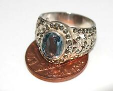 925 SILVER MARCASITE & BLUE TOPAZ ? RING Size UK M, US 6.25  For repair / R 86