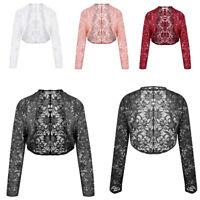 Womens Lace Flare Long Sleeve Shrug Ladies Cropped Cardigan Coat Jacket
