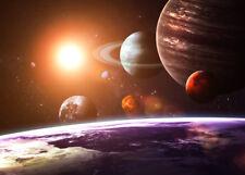 VLIES Fototapete-SOLAR SYSTEM-(396V)-350x260cm-7 Bahnen 50x260-Weltall Planeten