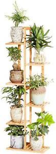 Bamboo 6 Tier 7 Potted Plant Stand Rack Multiple Flower Pot Holder Shelf Indoor