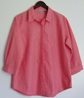Chico's Womens Stripe Tunic Tops Shirt Blouse 3/4 Sleeve Red Casual Relax Size 2