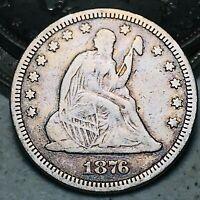 1876 Seated Liberty Quarter 25C DIE CRACK Choice Good 90% Silver US Coin CC6847