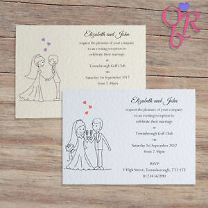 10 Personalised Wedding Invitations Evening Invites with Envelopes & Free P&P