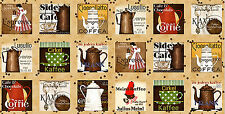 """Coffee Kitchen Cafe Cotton Fabric Quilting Treasures Daily Grind 24""""X44"""" PANEL"""