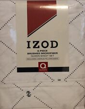 Izod Diamond Queen Sheet Set 6pcs Microfiber Cottage Bed Country Logo White Blue