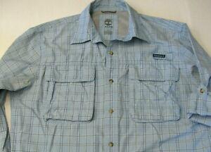 Timberland Turbo Dry Shirt Plaid Blue Med Hiking Fishing Long Sleeve Light Men
