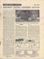 Wolseley 1500 Saloon Motor Trader Service Data No. 309 1958