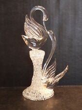 "Kissing Swans Hand Blown Glass Wedding Cake Topper 7.5"""
