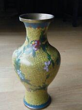 """Vtg Chinese Cloisonne Enamel Plum Blossom Vase 9 1/2"""" Marked"""