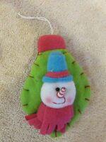 CUTE PLUSH SNOWMAN ON A  GREEN LIGHT  Christmas Ornament