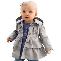 Baby Girls Clothes Hooded Trench Coat Wind Jacket Kids Outwear Size 1 2 3 4 5