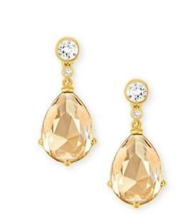 Swarovski 244132 Womens Brown Clear Crystal Teardrop Drop Earrings Gold