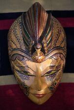 Hand Decorated Indonesian Batik Wooden Mask Ethnic Art