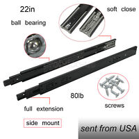 "Black Drawer Slides 22"" Soft Close Full Extension Ball Bearing Side Mount 100LB"