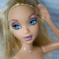 (F58)~NUDE BLONDE BLUE EYES BARBIE MY SCENE LARGE HEAD ARTICULATED DOLL FOR OOAK