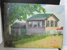 Vintage Oil on Board Painting Signed Noel J Cortes 1941 Landscape House w/ Fence