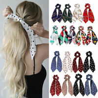 Hair Band Tie Bow Satin Long Ribbon Ponytail Scarf Scrunchies Elastic Hair Rope