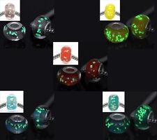 20 Mixte Perle verre Lumineuse pr Bracelet charm 14x9mm
