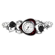 Alchemy Gothic Bed Of Blood Roses Enamel Swarovski Crystal Pewter Bracelet Watch