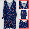 Modcloth Women's Floral Dress 3/4 Sleeve V Neck A-Line  Blue Plus Size 3X