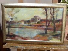Paisaje al óleo por el río expuso artista Gaye pasar Inglaterra Envío Gratuito