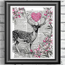 BOOK PAGE PRINT STAG Pink Heart Flowers. wall decor, gift idea, DICTIONARY ART