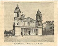 Stampa antica PORTO MAURIZIO Chiesa del Beato Maurizio Imperia 1891 Old print
