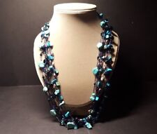 Multi-Strand Turquoise Necklace Polished Stone and Faceted Bead Fusion