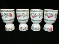 """JOHNSON BROTHERS INDIAN TREE GREE GREEK KEY BAND CREAM 4 DOUBLE EGG CUPS 4"""" TALL"""