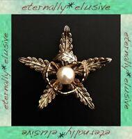 Vintage Damascene Enamel Toledo Star Flower Floral Faux Pearl Brooch Shawl Pin